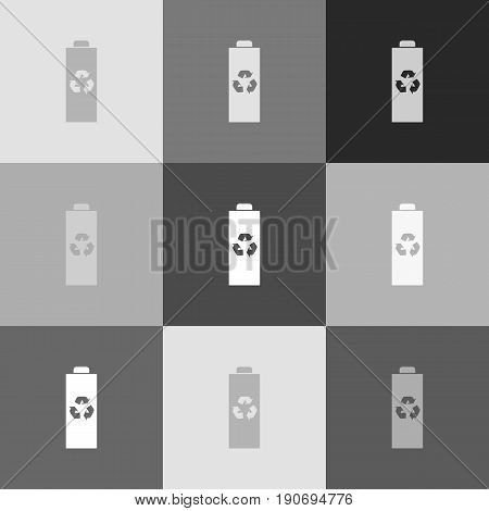 Battery recycle sign illustration. Vector. Grayscale version of Popart-style icon.