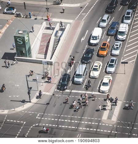 Aerial Of A Crossroad / Street Traffic With Cars And People At Potsdamer Platz In Berlin
