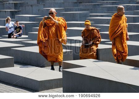 Buddhist Monks Visiting The Memorial Of The Murdered Jews In Europe A.ka. The Holocaust Memorial In
