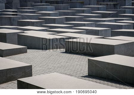 Berlin Germany - june 9 2017: The Memorial of the Murdered Jews in Europe a.ka. the Holocaust memorial in Berlin Germany.