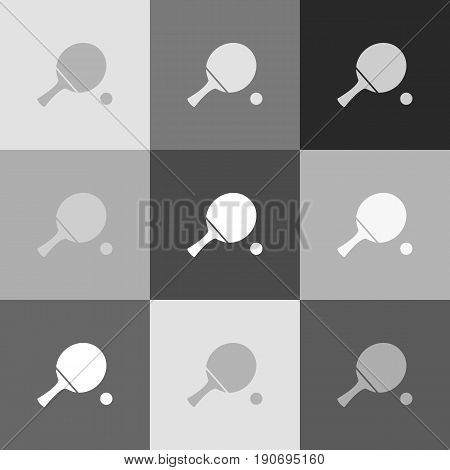 Ping pong paddle with ball. Vector. Grayscale version of Popart-style icon.