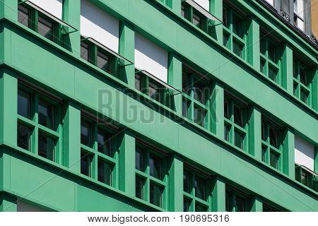 Windows On Residential Building Exterior -  Green House Facade