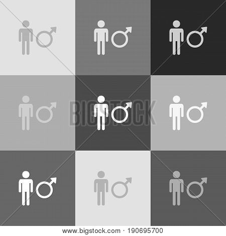 Male sign illustration. Vector. Grayscale version of Popart-style icon.