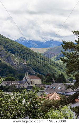 A beautiful view of the mountains Pyrenees. Lourdes, France