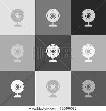 Chat web camera sign. Vector. Grayscale version of Popart-style icon.
