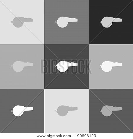 Whistle sign. Vector. Grayscale version of Popart-style icon.