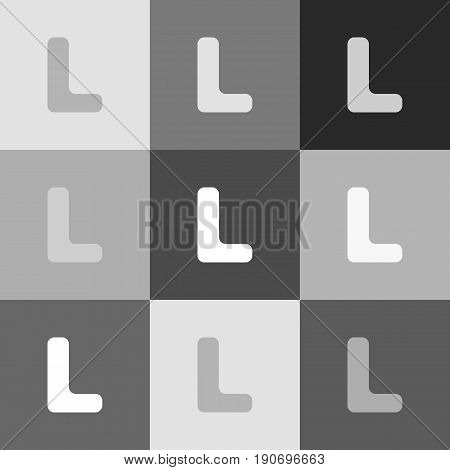 Letter L sign design template element. Vector. Grayscale version of Popart-style icon.