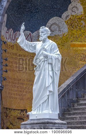 Basilica of our Lady of the Rosary. Statue of Saint Peter. Lourdes, France, Hautes Pyrenees