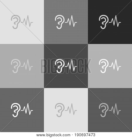 Ear hearing sound sign. Vector. Grayscale version of Popart-style icon.