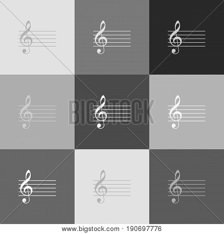 Music violin clef sign. G-clef. Vector. Grayscale version of Popart-style icon.