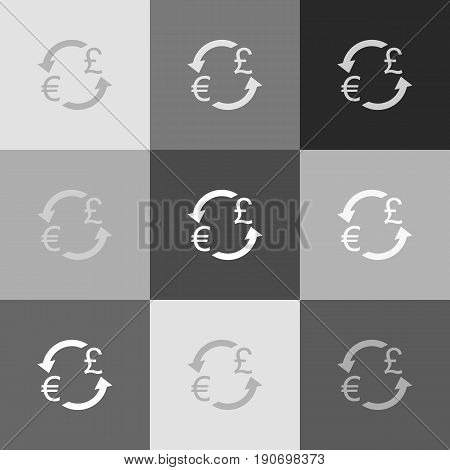 Currency exchange sign. Euro and UK Pound. Vector. Grayscale version of Popart-style icon.