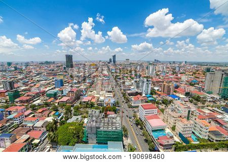 Aerial view of Phnom Penh, Cambodia. Day time