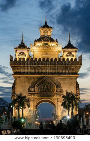 Patuxai monument at night in Vientiane, Laos