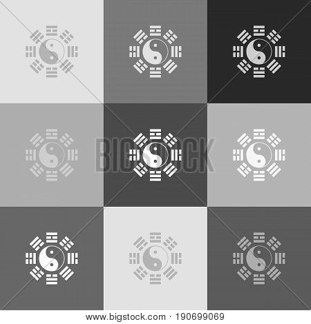 Yin and yang sign with bagua arrangement. Vector. Grayscale version of Popart-style icon.