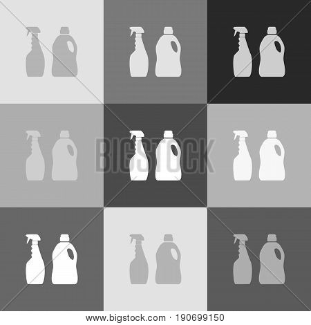 Household chemical bottles sign. Vector. Grayscale version of Popart-style icon.