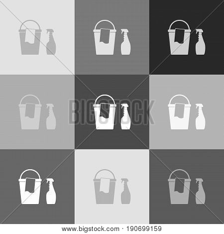 Bucket and a rag with Household chemical bottles. Vector. Grayscale version of Popart-style icon.