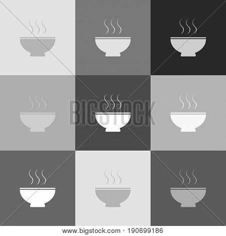 Soup sign. Vector. Grayscale version of Popart-style icon.