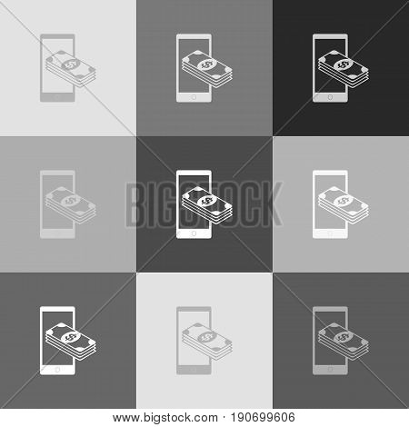 Payment, refill your mobile smart phone, . Vector. Grayscale version of Popart-style icon.