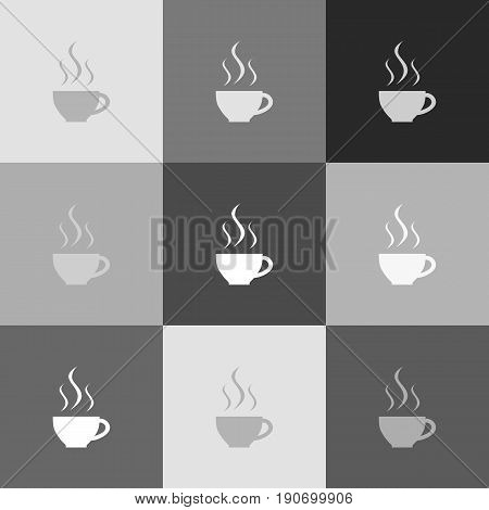 Cup sign with three small streams of smoke. Vector. Grayscale version of Popart-style icon.