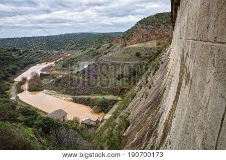 Reservoir Rumblar, Expelling Water After Several Months Of Rain, Jaen, Spain