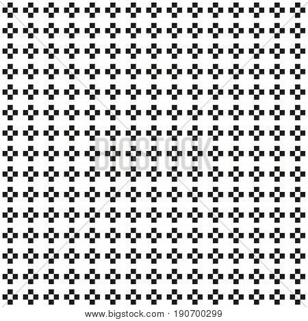 Seamless abstract monochrome plus or cross pattern black and white wallpaper missing inner tile in cross shape