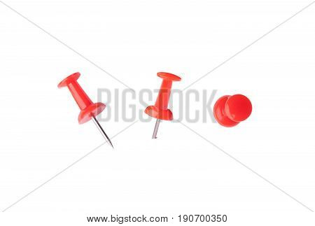 Red Pins Isolated On White Bakcground