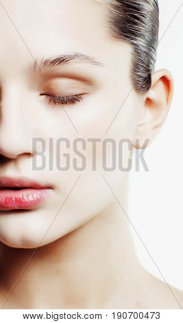 young sweet brunette woman close up isolated on white background, perfect pure innocense beautiful, spa people concept copyspace