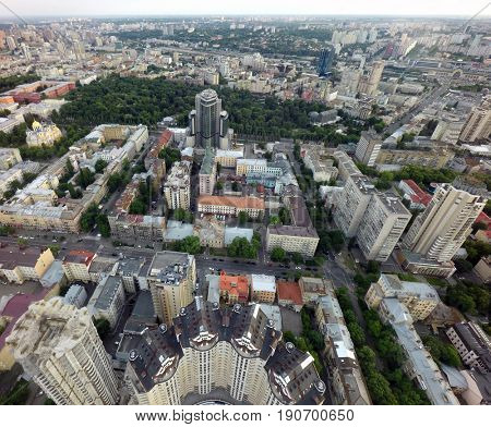 Summer evening in Kiev, aerial view