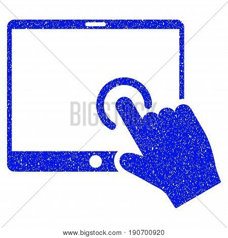 Grunge Hand Touch PDA icon with grunge design and scratched texture. Unclean vector blue pictogram for rubber seal stamp imitations and watermarks. Draft sticker symbol.