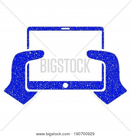 Grunge Hands Hold PDA icon with grunge design and scratched texture. Unclean vector blue pictogram for rubber seal stamp imitations and watermarks. Draft sign symbol.
