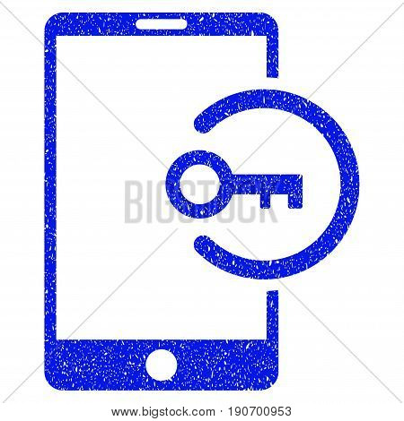 Grunge Key Login Smartphone icon with grunge design and unclean texture. Unclean vector blue pictogram for rubber seal stamp imitations and watermarks. Draft sign symbol.