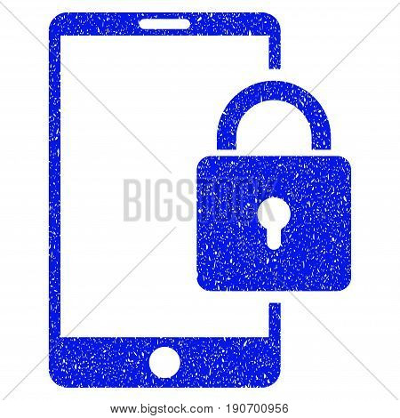 Grunge Lock Smartphone icon with grunge design and dirty texture. Unclean vector blue pictogram for rubber seal stamp imitations and watermarks. Draft emblem symbol.