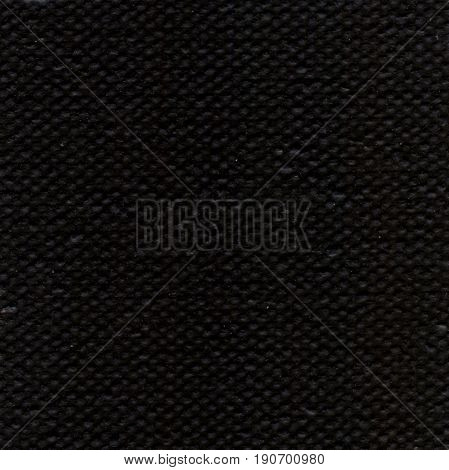 Black linen canvas. Natural fabric texture wallpaper background. Canvas texture coated by black primer