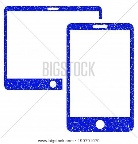 Grunge Mobile Devices icon with grunge design and unclean texture. Unclean vector blue pictogram for rubber seal stamp imitations and watermarks. Draft sticker symbol.