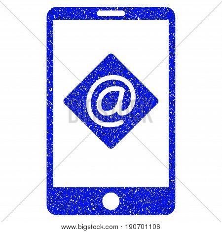 Grunge Mobile Email icon with grunge design and dust texture. Unclean vector blue pictogram for rubber seal stamp imitations and watermarks. Draft emblem symbol.