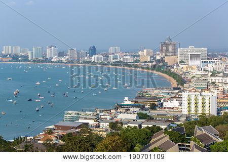 Pattaya, Thailand - March 7, 2017: Panorama view of Pattaya city in Thailand. Day time