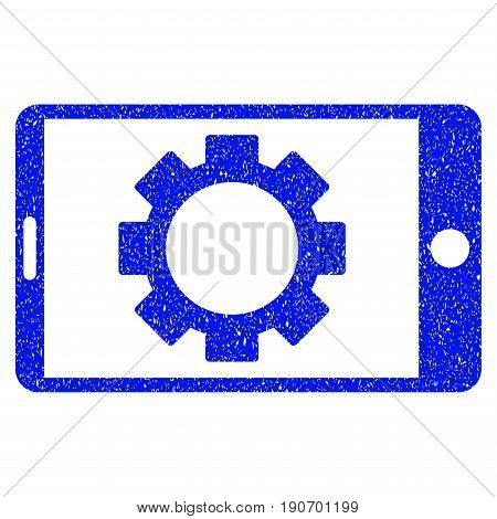 Grunge Mobile Settings Gear icon with grunge design and unclean texture. Unclean vector blue pictogram for rubber seal stamp imitations and watermarks. Draft sign symbol.
