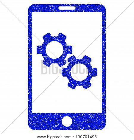 Grunge Smartphone Gear Options icon with grunge design and scratched texture. Unclean vector blue pictogram for rubber seal stamp imitations and watermarks. Draft sticker symbol.