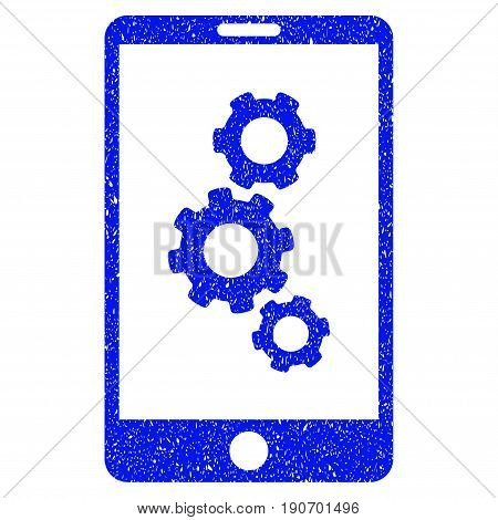 Grunge Smartphone Gears icon with grunge design and unclean texture. Unclean vector blue pictogram for rubber seal stamp imitations and watermarks. Draft sign symbol.