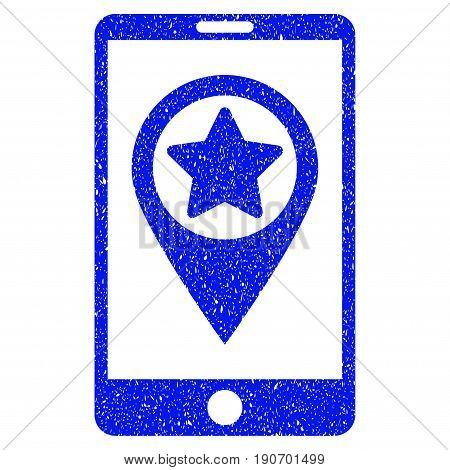 Grunge Smartphone Map Pointer icon with grunge design and unclean texture. Unclean vector blue pictogram for rubber seal stamp imitations and watermarks. Draft emblem symbol.