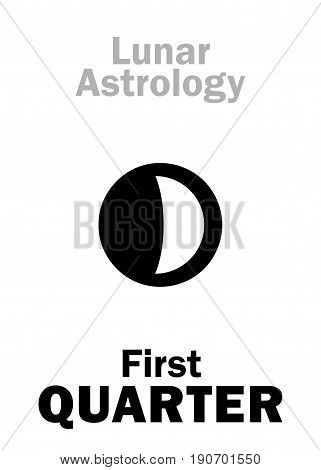 Astrology Alphabet: First QUARTER of MOON (Lunar phase). Hieroglyphics character sign (single symbol).
