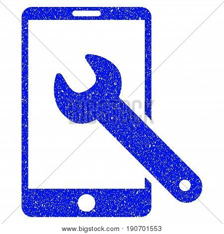 Grunge Smartphone Setup Wrench icon with grunge design and scratched texture. Unclean vector blue pictogram for rubber seal stamp imitations and watermarks. Draft sticker symbol.
