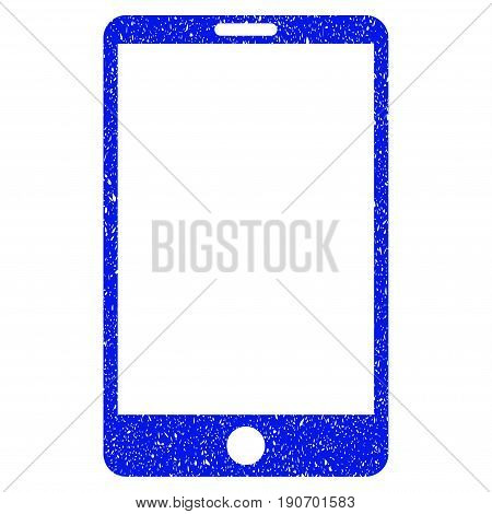Grunge Smartphone icon with grunge design and unclean texture. Unclean vector blue pictogram for rubber seal stamp imitations and watermarks. Draft sticker symbol.