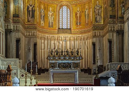 Main altar of the Metropolitan Cathedral by Luigi Valadier (1726-1785) - Monreale Sicily Italy, 21 October 2011