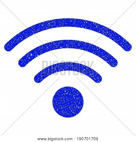 Grunge Wi-Fi Source icon with grunge design and dirty texture. Unclean vector blue pictogram for rubber seal stamp imitations and watermarks. Draft sign symbol.