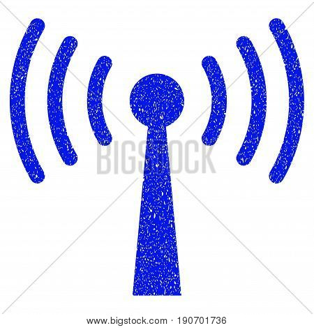 Grunge Wi-Fi Station icon with grunge design and dirty texture. Unclean vector blue pictogram for rubber seal stamp imitations and watermarks. Draft emblem symbol.