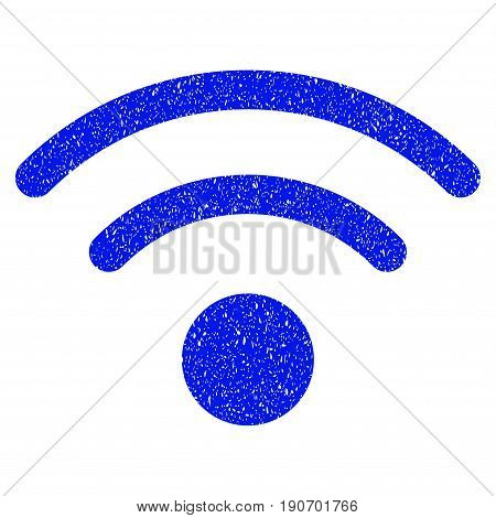Grunge Wi-Fi icon with grunge design and dust texture. Unclean vector blue pictogram for rubber seal stamp imitations and watermarks. Draft emblem symbol.