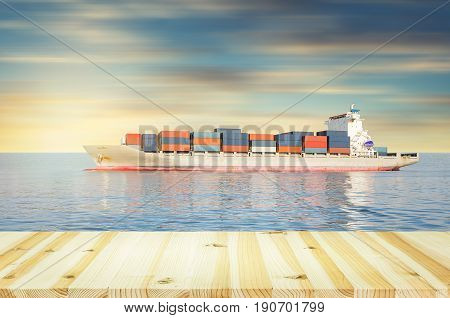 Cargo freight ship and cargo container in sea with dusk sky for logistics and transportation background.