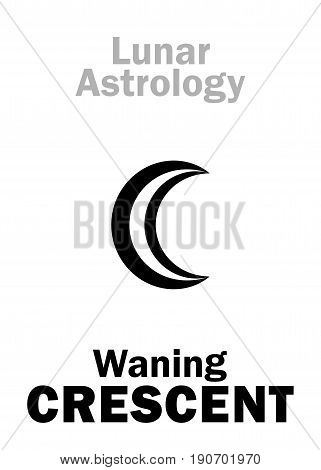 Astrology Alphabet: Waning CRESCENT, damage Moon. Hieroglyphics character sign (single symbol).