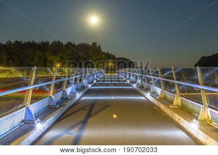 Cycling Bridge With Low Level Illumination